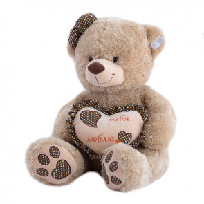 Медведь бежевое сердце горох,6424/70